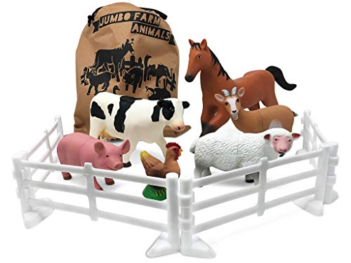 Plastic Farm Animals for Toddlers - 10 Piece Jumbo Set Includes Fences and Carrying Bag