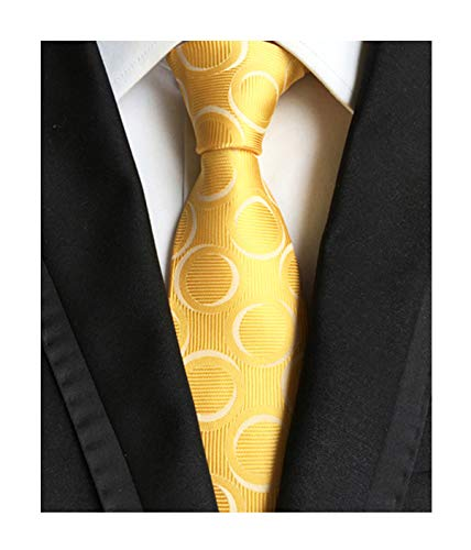 Men's Gold Yellow Silk Ties Daily Dress Neckties for Spring and Summer Weddings