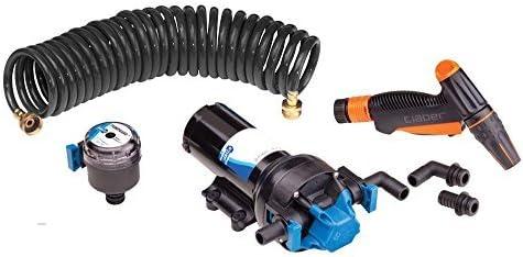 Jabsco 82906-0092 Automatic Washdown Pump, Hot Shot, 6.0 Gallons Per Minute, 70 PSI, 12 Volt, 25 Foot Coiled Hose