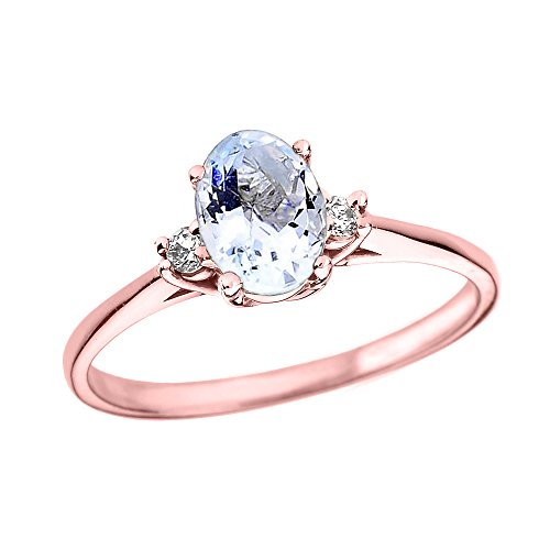 Oval Aquamarine and Diamond 10k Rose Gold Engagement Proposal Ring (Size 5)