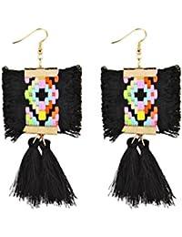 1 Pair Boho Multi-Color Statement Long Tassel Earrings Friange Dangle Drop Earrings
