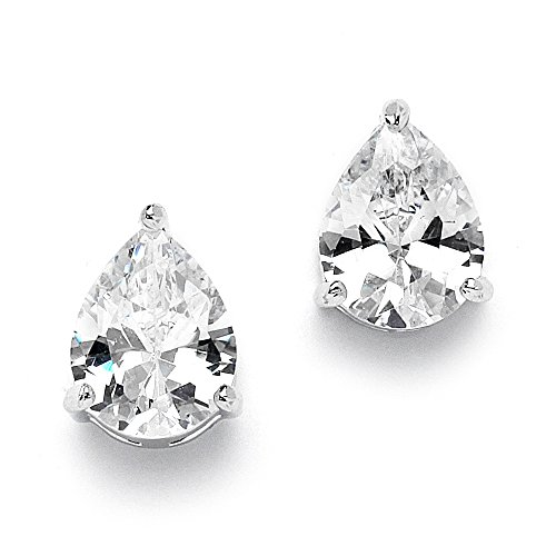 Mariell 2 Carat CZ Pear-Shaped Cubic Zirconia Stud Solitaire Earrings Plated in Genuine Silver ()