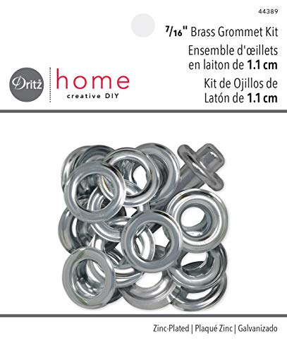Dritz Home 44389 Grommet Kit, 10 Sets with Tools, 7/16-Inch, Zinc-Plated Brass