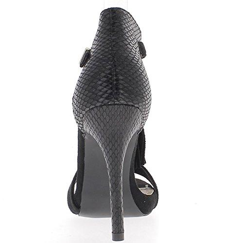 ChaussMoi Aspetto nero sandali coccodrillo pelle e pelle scamosciata per fine tacco 11cm