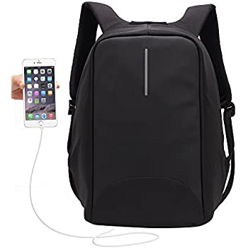 15.6 inch USB Charging Laptop Backpack, UBaymax Anti Theft Security Backpack Waterproof Lightweight Computer Notebook Bag Canvas Daypack for Men Women School Business Travel Outdoor Activities (Black)