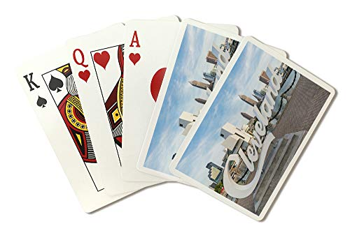 Cleveland, Ohio - Cleveland Sign on Waterfront - Photography A-92695 (Playing Card Deck - 52 Card Poker Size with Jokers)