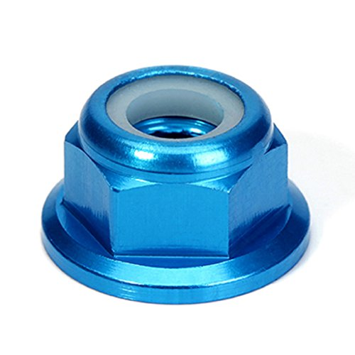 Aluminum Nut Lock Flanged (10 PCS M6 Nut CW Rotation Aluminum Flanged Nylon Lock Nut Self-Locking Metal Nuts (Blue))