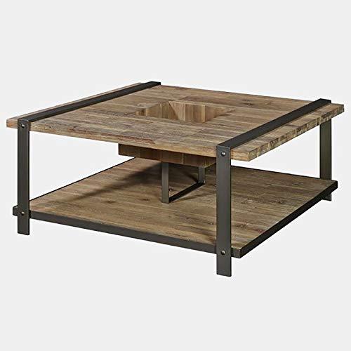 (Wood Coffee Table with Metal Frame - Rectangular Coffee Table with Shelf - Weathered Acacia)