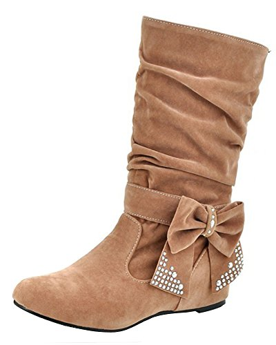Minetom Damen Winter Warme Bowknotdekoration Stiefeletten Mit Strass Mode Schuhe Khaki