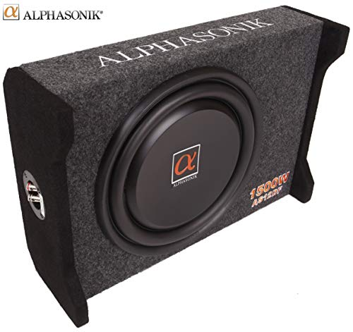 Alphasonik AS12DF 12 1500 Watts 4-Ohm Down Fire Shallow Mount Flat Enclosed Sub woofer for Tight Spaces in Cars and Trucks, Slim Thin Loaded Subwoofer Air Tight Sealed Bass Enclosure
