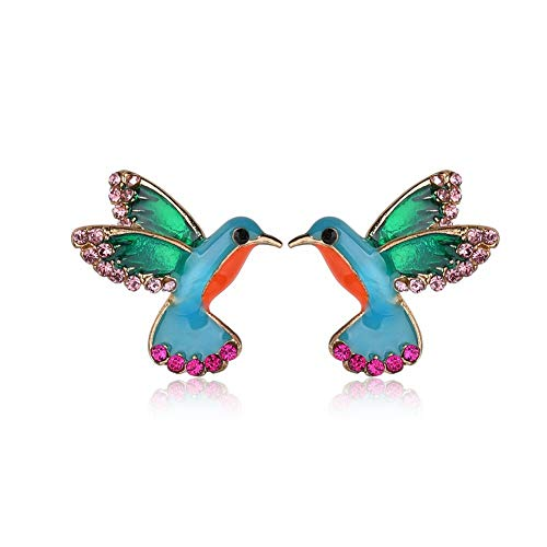 AILUOR Cute Enamel Crystal Hummingbird Bird Stud Earrings, Colorful Metal Animal Ear Studs Statement Jewelry Women Girl (Blue)