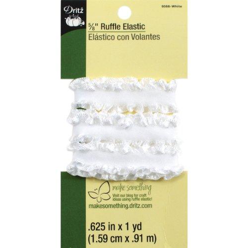 Dritz 9388 Ruffle Woven Elastic, White, 5/8-Inch by 1-Yard