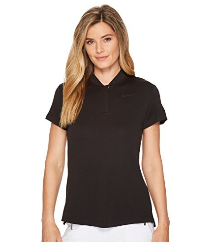 NIKE Women's Dry Short Sleeve Blade Golf Polo, Black/Black, Large
