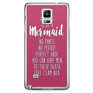 Samsung Note 4 Transparent Edge Phone Case Mermaid Phone Case Reason Mermaid Phone Case Pink 2D Note 4 Cover with Transparent Frame