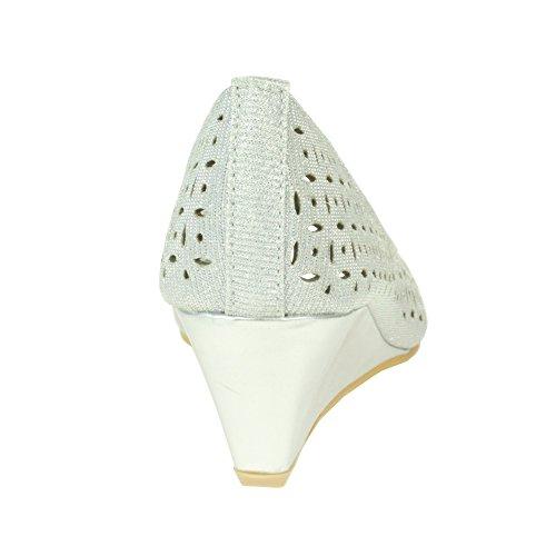 AARZ Komfort Casual Keilabsatz Slip LONDON Büroarbeit Womens Silber On Größe Damen Peeptoe Schuhe Smart Sandale p4wprI