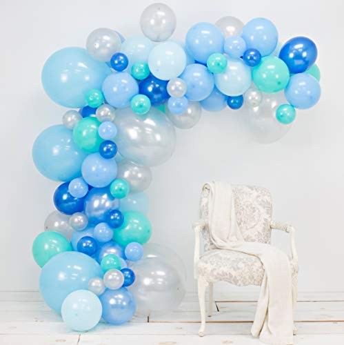 Junibel Balloon Arch & Garland Kit | Blue, Silver & Tiffany Sm to Xlarge balloons | Glue Dots | 17' Decorating Strip | Wedding, Boy Baby Shower, Graduation, Anniversary & Organic Party Decorations]()