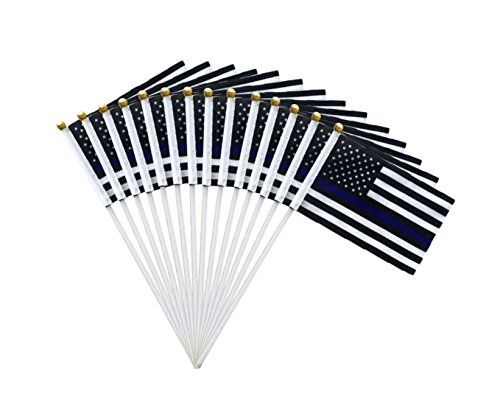 Thin Blue Line American US USA flag police flags Law Enforcement molon labe parade America 2nd second amendment -10 PACK support small supplies pack set car truck accessoires mini lawn garden handheld