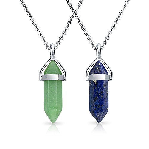 Bling Jewelry Fashion Trendy Set of Two Green Aventurine Blue Lapis Crystal Point Pendant Necklace for Teen for Women Stainless Steel