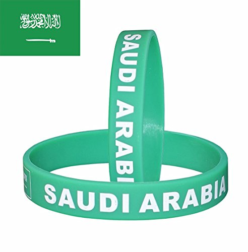VEWCK Flag Silicone Bracelet Classic Bangle Letter Pattern 40 Countries 2-Pack (Saudi Arabia)