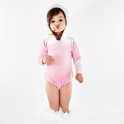AutumnFall Newborn Infant Baby Girl Fashion Long Sleeve O-Neck Fur Flock Hoodie Jumpsuit Romper Christmas Outfit (24M, Pink) (Jumper Flock)