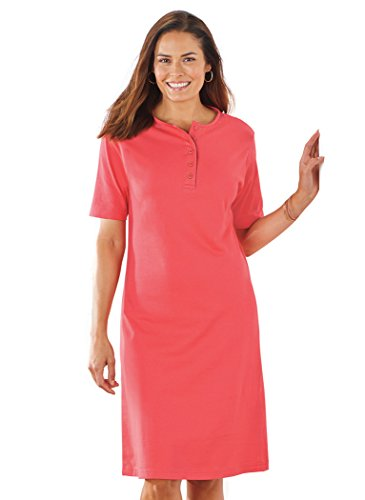 Cotton AmeriMark Dress Henley AmeriMark Coral Cotton EqzZBwz