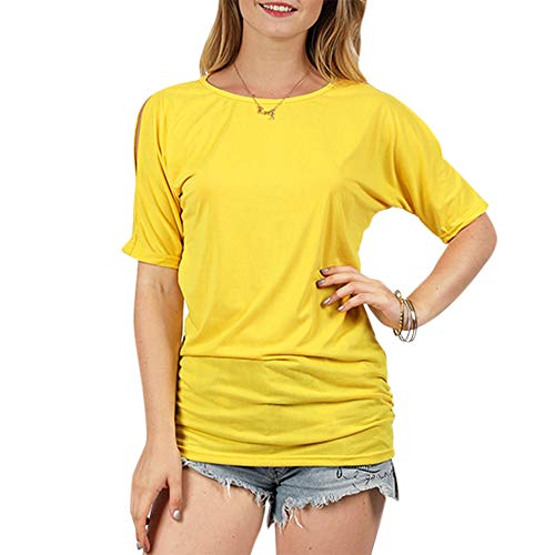 KCatsy Women T-Shirt Casual Round Neck Dolman Sleeve Solid Color Cold Shoulder Top Yellow