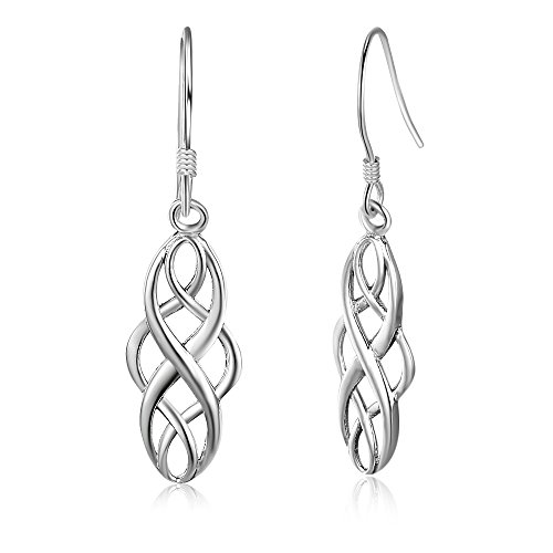 925 Sterling Silver Infinity Love Charm Celtic Knot Drop Religious Style Earrings (Womens Charm Celtic)