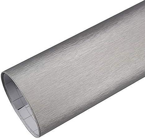Rapid Teck 5 26 M Premium Aluminium Alu Gebürstet Silber 2m X 1 52m Auto Folie Blasenfrei Mit Luftkanälen Für Auto Folierung Und 3d Bekleben In Matt Glanz Und Carbon Autofolie Küche Haushalt