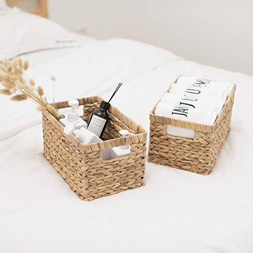 StorageWorks Water Hyacinth Wicker Storage Baskets, Rectangular Hand-Woven Basket with Handle, 12.9