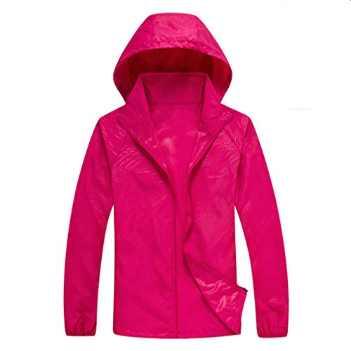 Tantisy ♣↭♣ Women Men's Waterproof Outdoor Active Hooded Rain Trench Jacket Sun Protection Clothing Overalls (with Pockets) Hot Pink]()