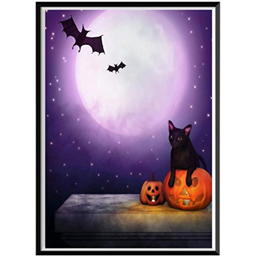 Yeefant Black Cat and Bat with Pumpkin Embroidery Paintings No Fading 5D Canvas Rhinestone Pasted Pasted DIY Diamond Cross Stitch Home Wall Decor for Bedroom Living Room,10x12 Inch MulticolorH]()