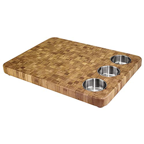 Totally Bamboo 3-Bowl Bamboo Butcher Block with Stainless Steel Prep Bowls, 22