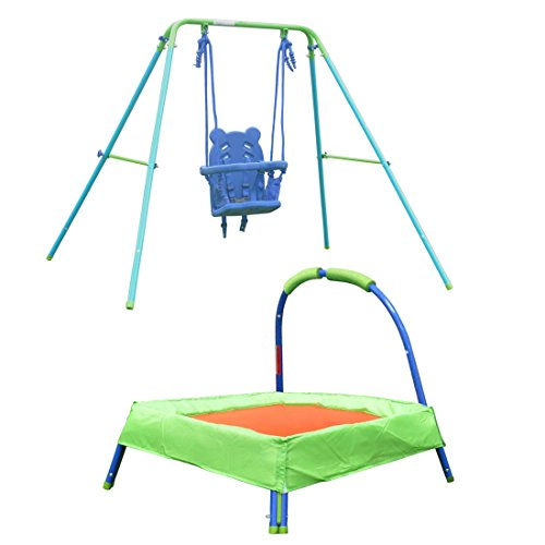 HLC-Safety-Folding-Toddler-Swing-32-Padded-Trampoline-for-Kids-Childrens-Gifts