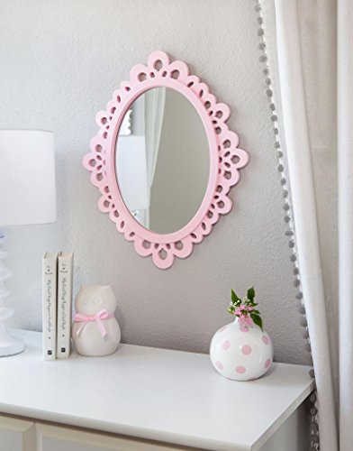 amazoncom decorative oval wall mirror white wooden frame for bathrooms bedrooms dressers and antique princess dcor medium home u0026 kitchen