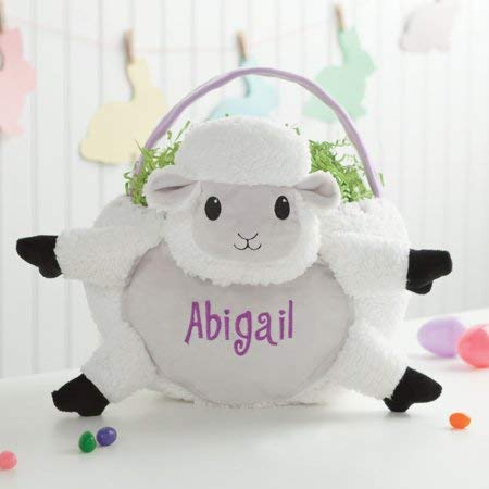 Personalized Wicker Kids Easter Basket - White Lamb -