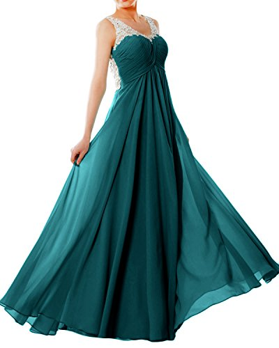Dress Lace Straps Women Chiffon Green EveningBall V Gown MACloth Teal Prom Formal Neck Long 548wqRRXn