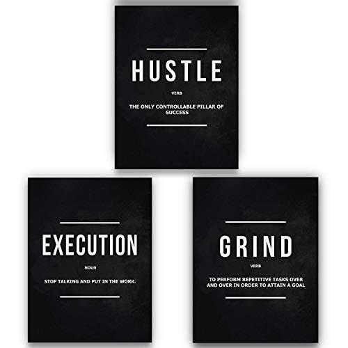 (SuccessHunters 3 Piece Grind Verb Hustle Verb Execution Noun Motivational Wall Art Canvas Print, Office Decor, Inspiring Framed Prints, Inspirational Quotes for Wall Art Decoration (3X - 24