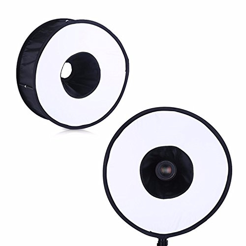 (EXMAX 17.71in Portable Round Universal Collapsible Magnetic Ring Diffuser Soft box for Macro Portrait Photography)