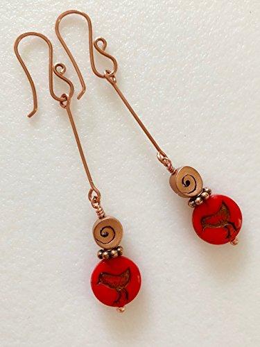 Red Bird Earrings, Coral Red Czech Glass, Glass Earring Dangles, Rustic Red Bird, Boho Earrings.
