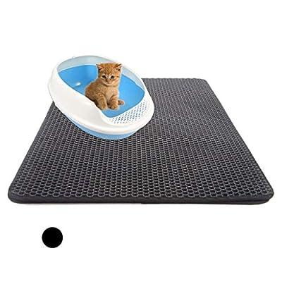 Cat Box Weite Waterproof Double-Layer Dog Cat Pet Food Feeding Mat Tray Litter Trapper, 40x50cm Anti Slip Pe [tag]
