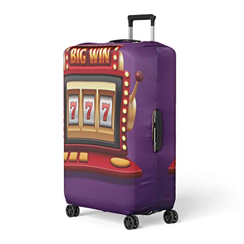 Pinbeam Luggage Cover Jackpot Slot Casino Machine One Arm Bandit Travel Suitcase Cover Protector Baggage Case Fits 22-24 inches ()