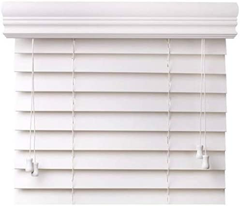 CBC – Custom 2 Faux Wood Blinds White w Crown Valance – Width 90.125 90-1 8 – 96 by Height x 37-48 Size Window Blind