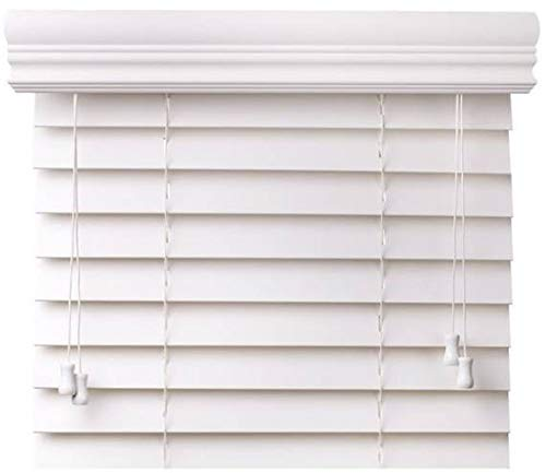 CBC – Custom 2″ Faux Wood Blinds White w/Crown Valance – Width: 72.125 (72-1/8) – 78″ by Height: x 37-48″ Size Window Blind