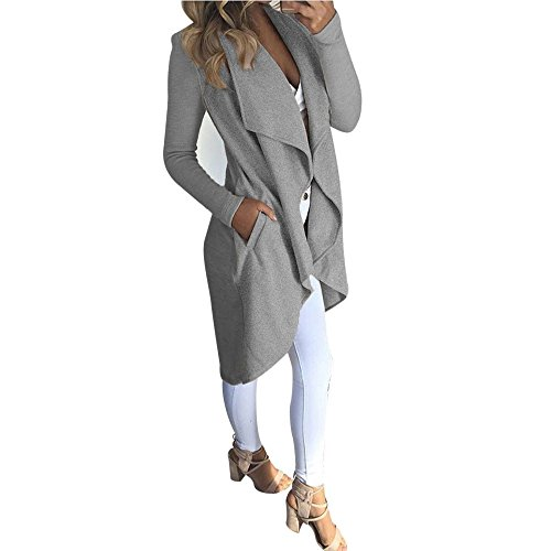 Pengy Women Fashion Autumn Long Sleeve Cardigan Coat Open Front Jacket (XL, - Oakley Jacket Gray And Flak White