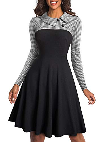Arainlo Women Ladies Retro Vintage Turn-Down Collar Business Work Party Dresses Casual Long Sleeve A-Line Flare Swing Dress Black M for $<!--$21.99-->