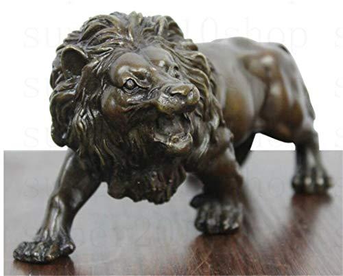 Bronze Fierce Wild Animals Figure Lions Statue Sculpture Retro Office Living Room Desktop Art Decor