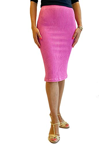 Ribbed Midi Skirt   One Size Fits Sizes 0-16   Black Denim Silver Rose   Casual Formal Work Party Skirt   (Berry)