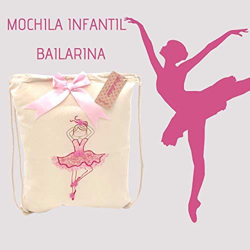 Mochila infantil de algodón bailarina rosa pintada a mano: Amazon ...