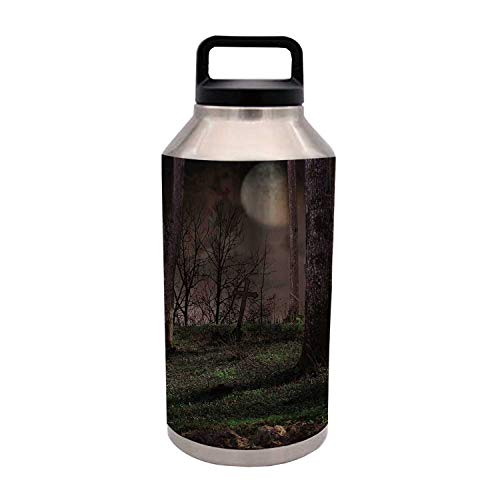 TecBillion Gothic Durable 64OZ Stainless Steel Bottle,Dark Night in The Forest with Full Moon Horror Theme Grunge Style Halloween for Home Travel Office,4