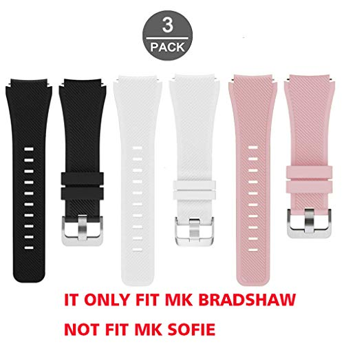 2bb1e46af318 Lamshaw Classic Silicone Replacement Band for Michael Kors Bradshaw Smartwatch  Strap (3 Pack-Pink